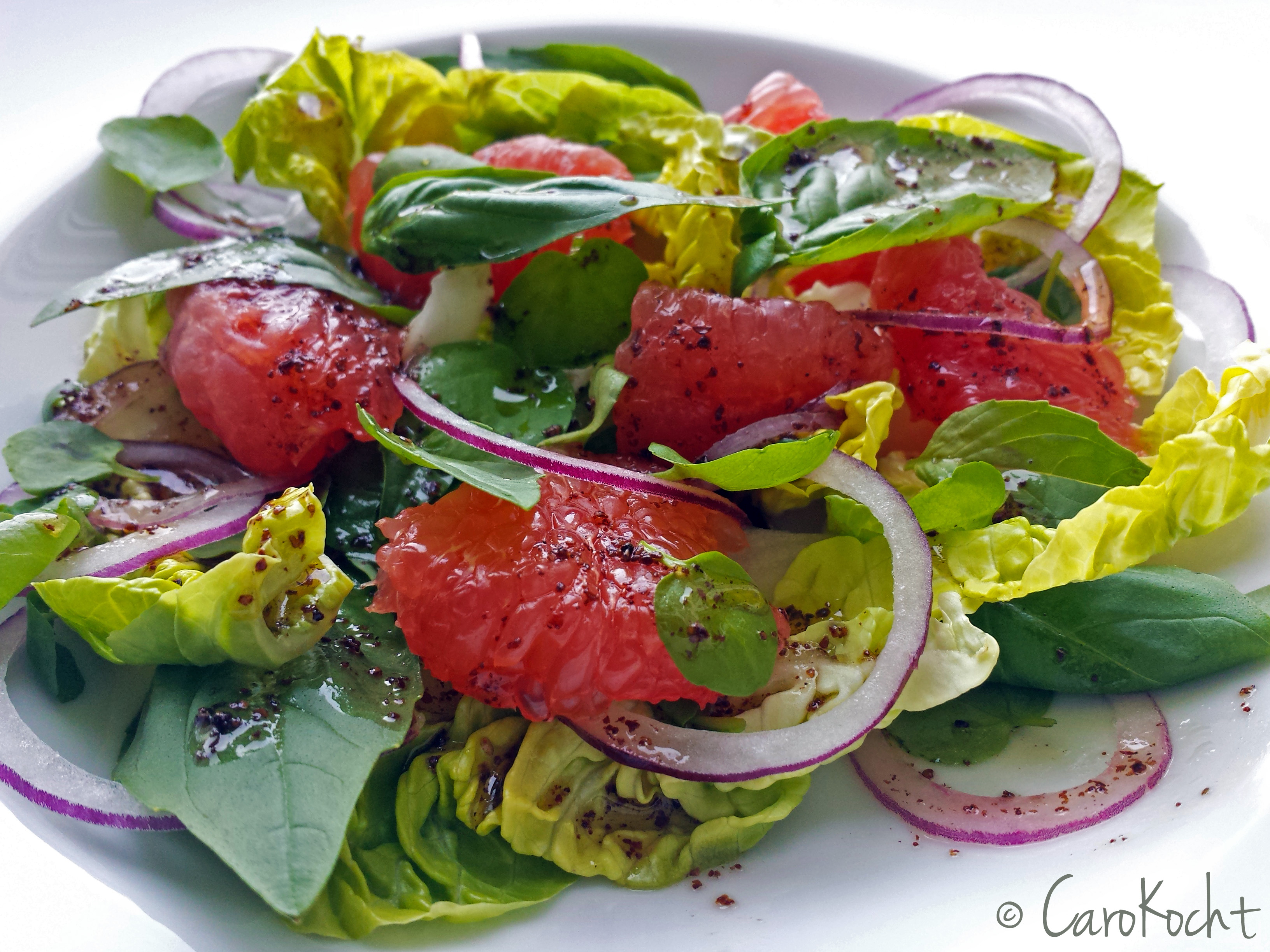 Grapefruit-Salat mit Brunnenkresse, Basilikum und Sumachdressing